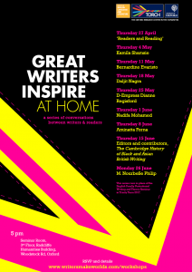 Great Writers Inspire at Home 2017 workshops poster