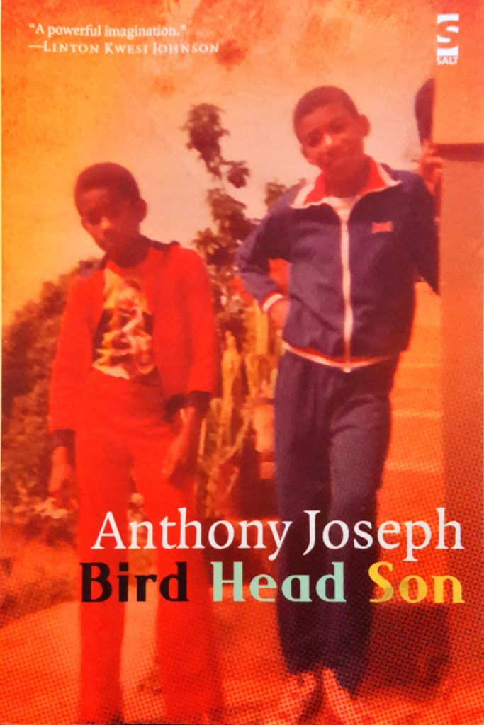 The cover of Anthony Joseph's collection, Bird Head Son, showing two black pre-teen boys in tracksuits.