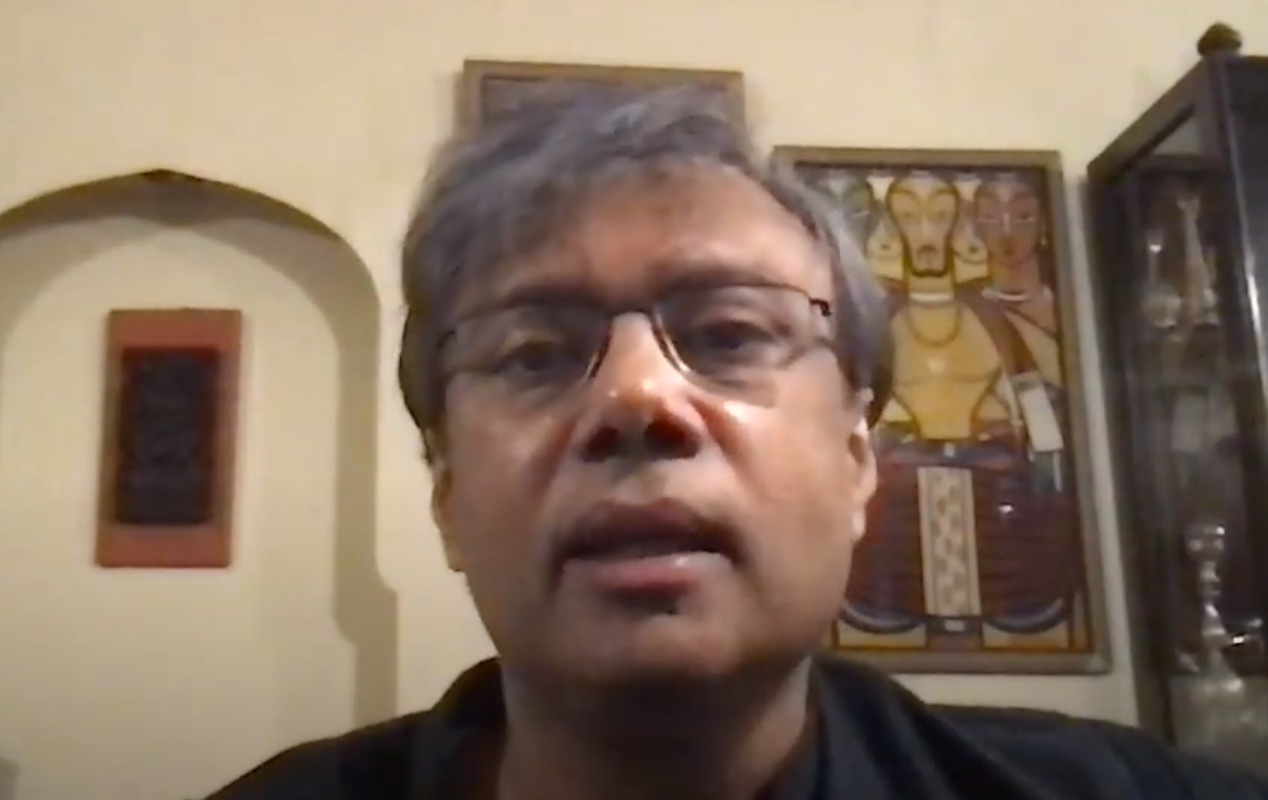 Screengrab of Amit Chaudhuri's face during the interview
