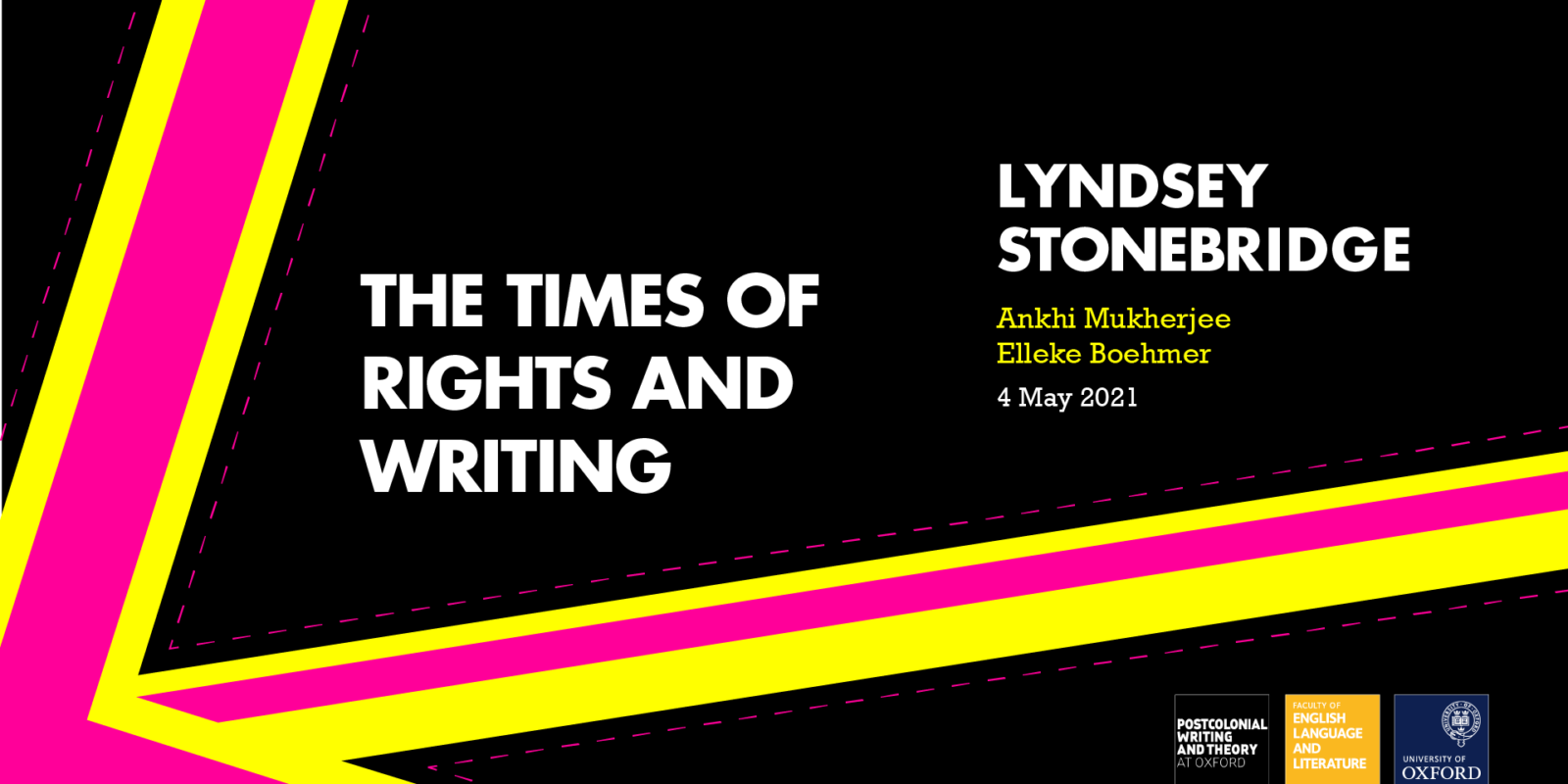 """Title card for Lyndsey Stonebridge's talk """"The Times of Rights and Writing"""""""