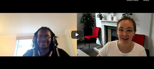 Split screen view of poet Kayo Chingonyi on the left, and interviewer Chelsea Haith on the right.