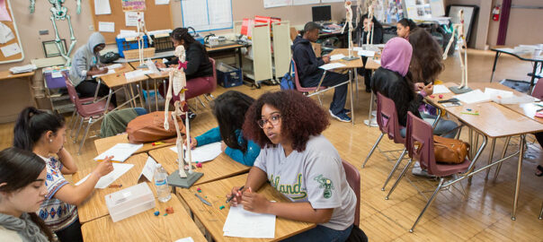 Diverse teenage school students sitting at desks in a classroom.